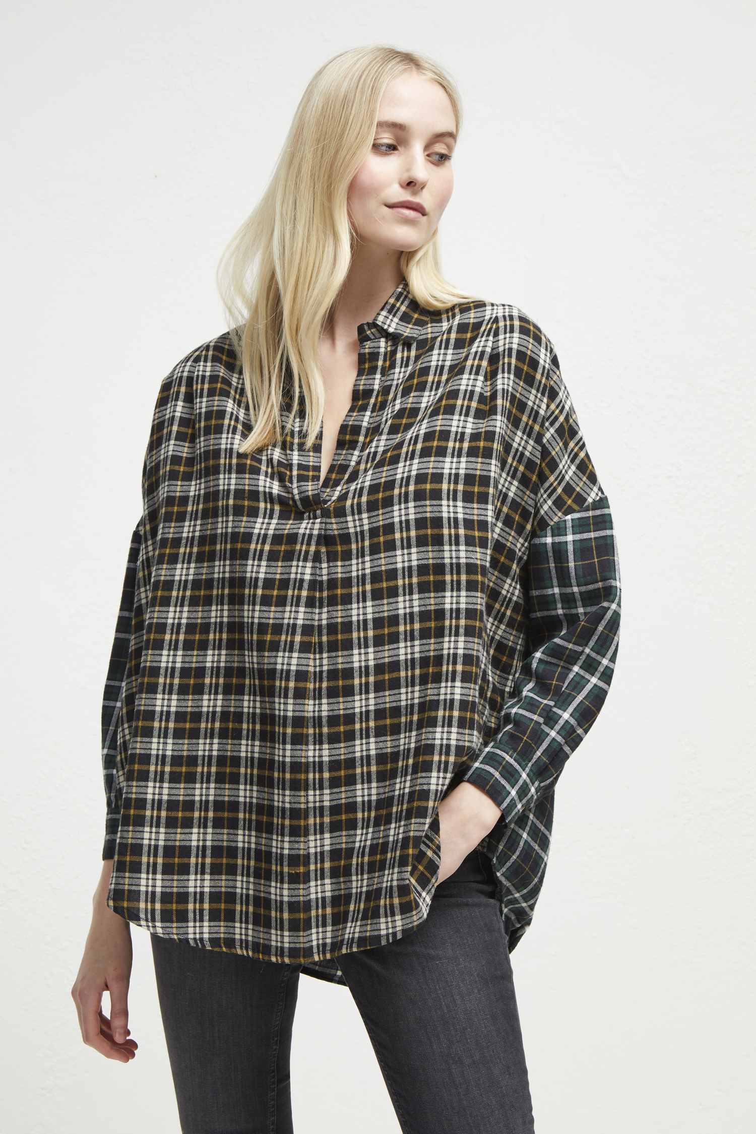Este Check Drop Hem Shirt by French Connection