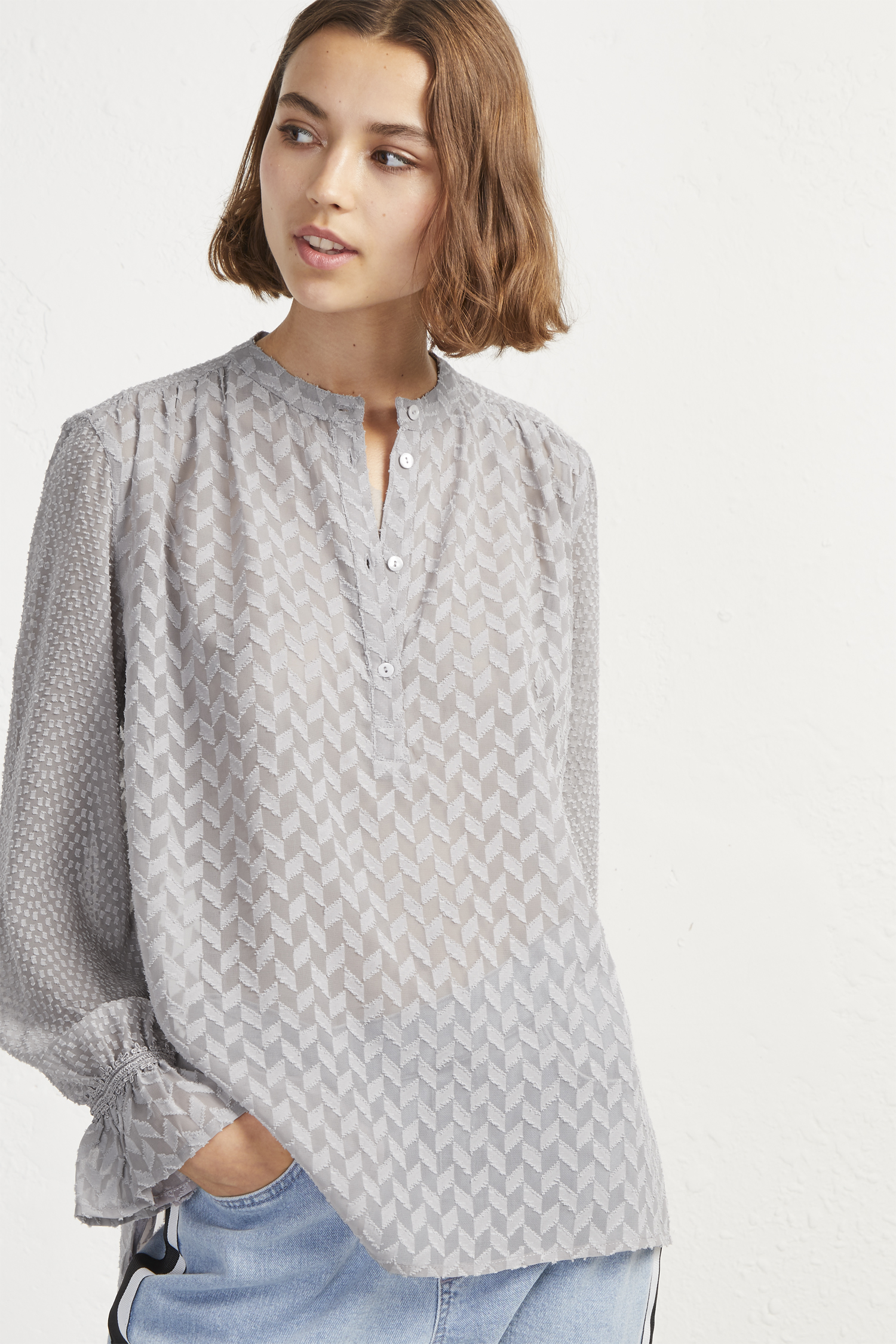 Corsica Sheer Pop Over Blouse by French Connection