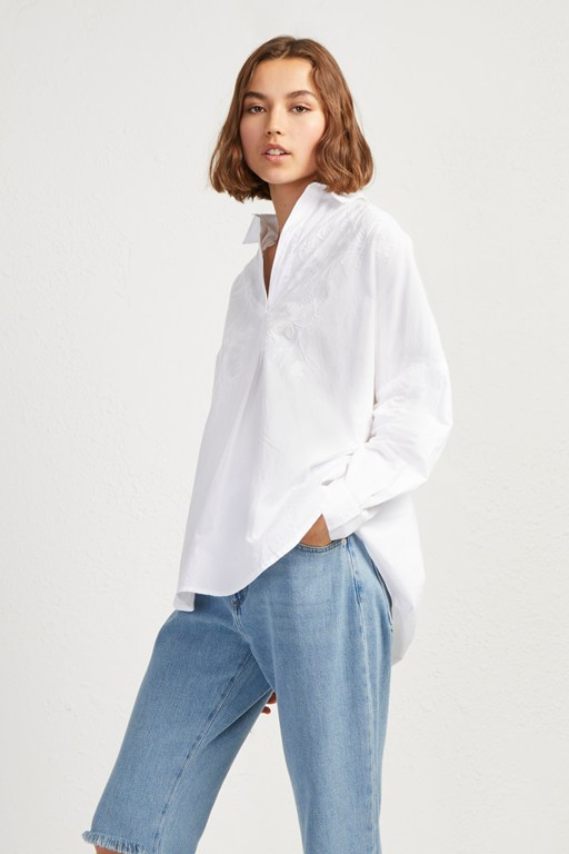 rhodes poplin embroidered popover shirt
