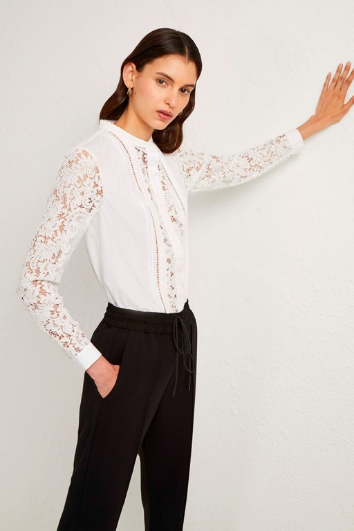 southside cotton lace mix shirt