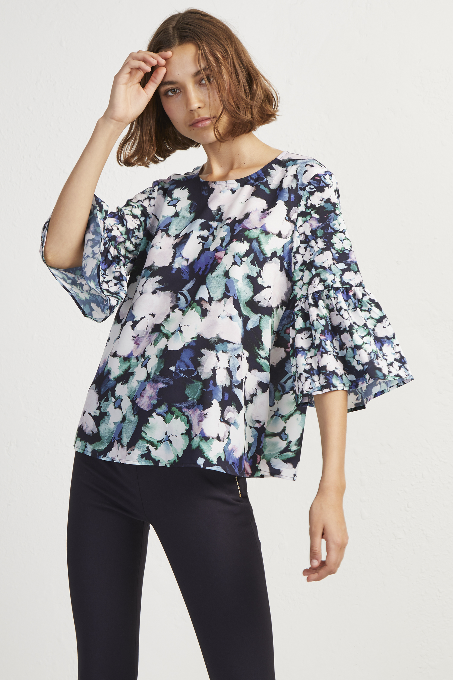 Crepe Dreda Fluted Sleeve Top by French Connection