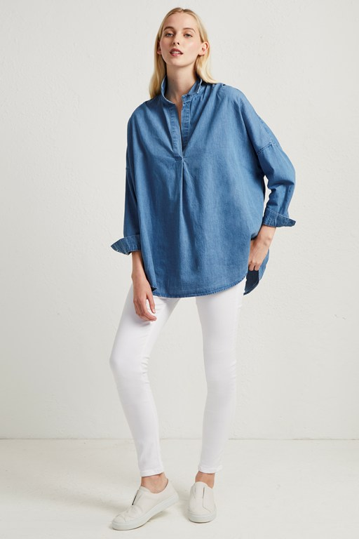 tidore chambray popover shirt