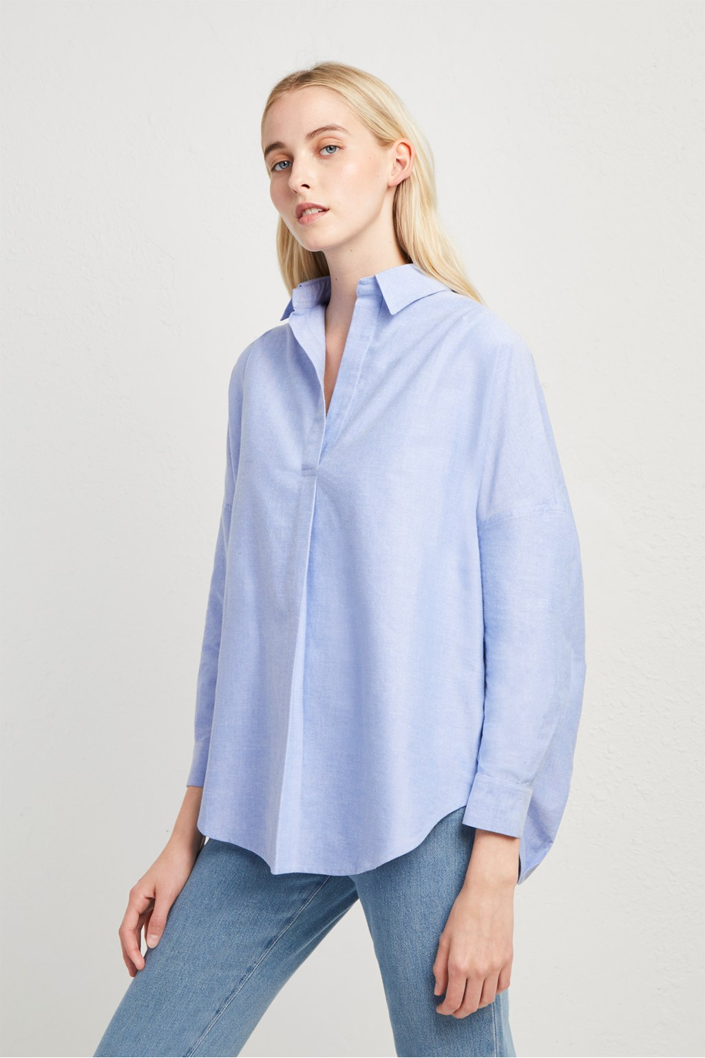 f25ea58d4bd Chambray-Linen Blend Popover Shirt | Winter Outfits | French Connection Usa