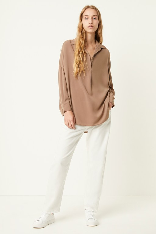 rhodes crepe pop over shirt