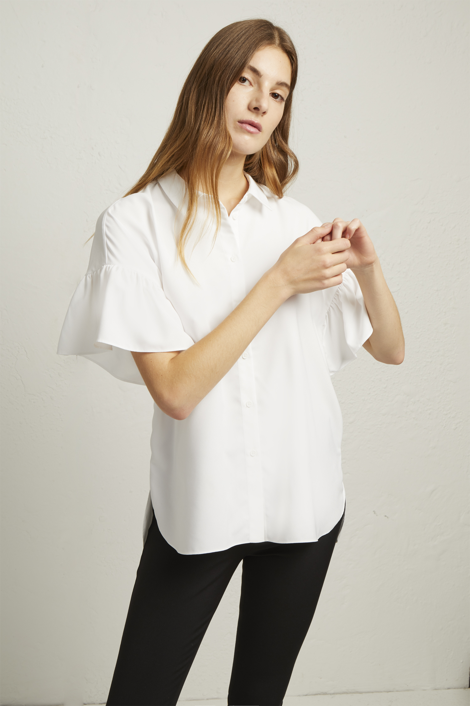 6682a5b322f Crepe Light Ruffle Sleeve Shirt | Collections | French Connection Usa