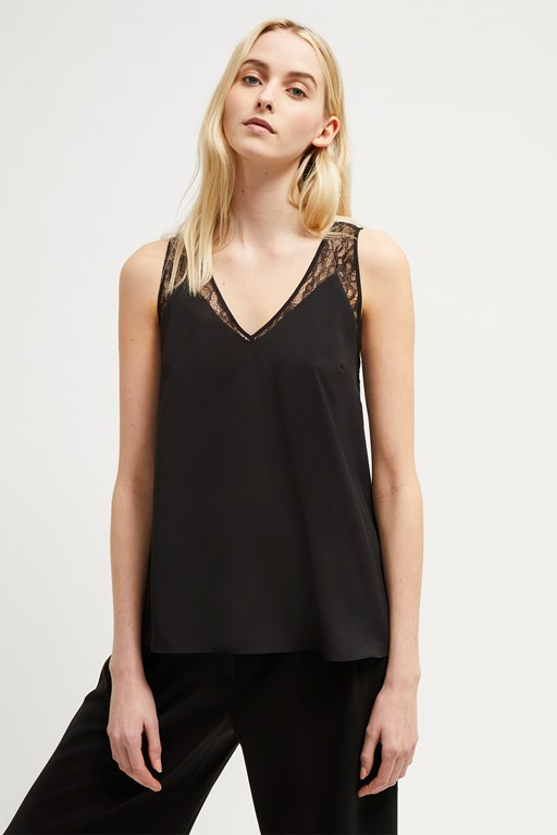 crepe light lace trim vest