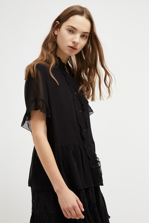 clandre light ruffle blouse