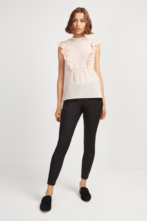 crepe light solid mock neck top