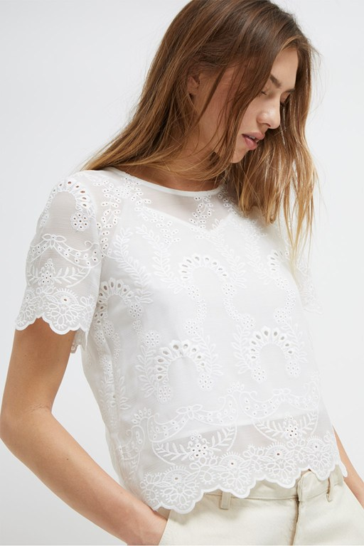 camellia lace short sleeve top