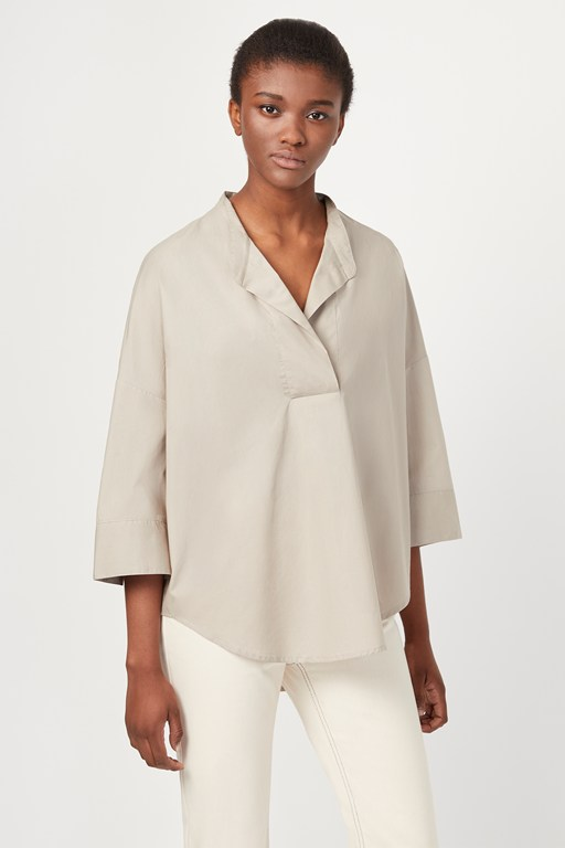 adoni poplin pop over shirt
