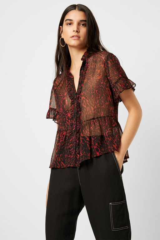 sheer leopard ruffle sleeve blouse