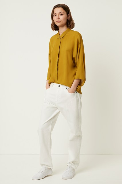 Etta Silk Mix Cropped Sleeve Shirt