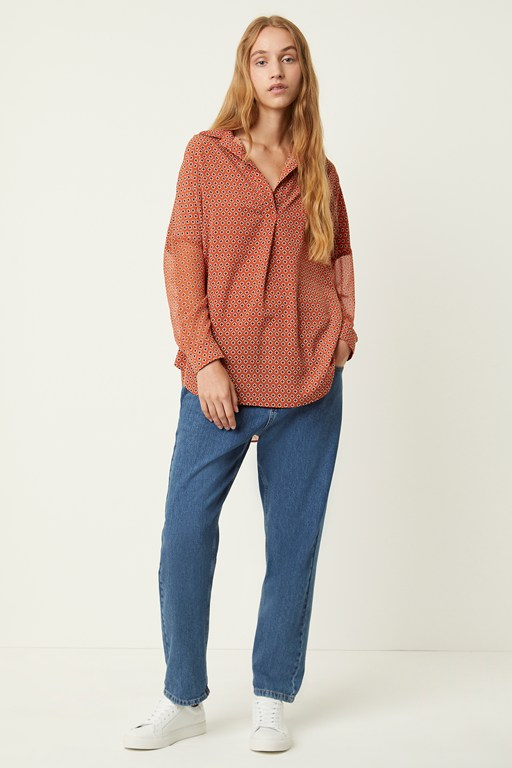 cristina crepe pop over shirt