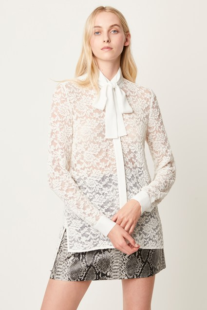 Baen Lace Tie Neck Blouse