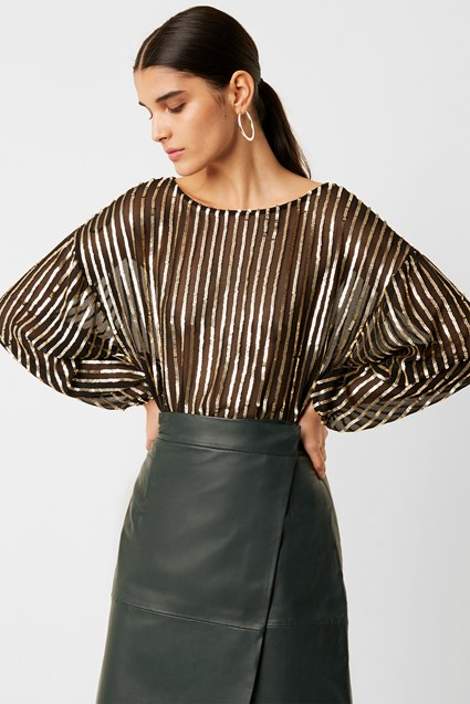 Celina Sequin Striped Blouse