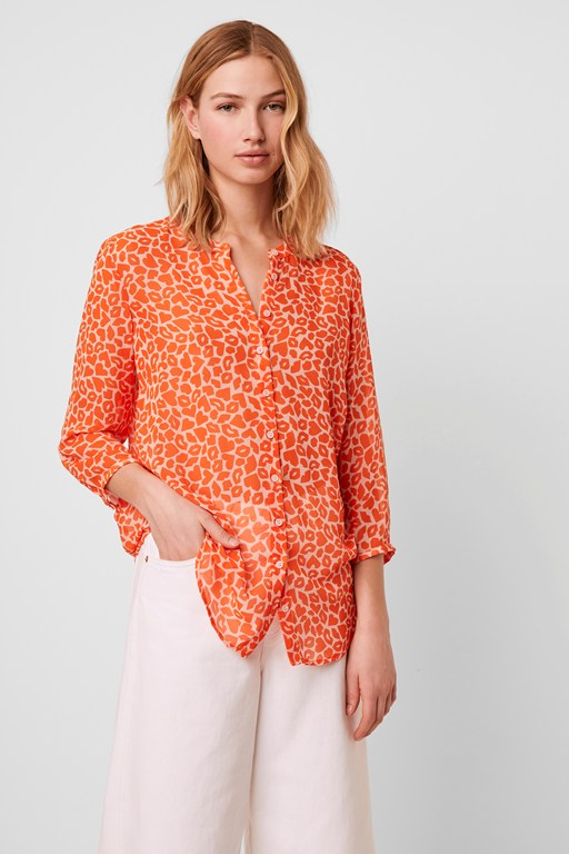 etta kiss print neon collarless shirt