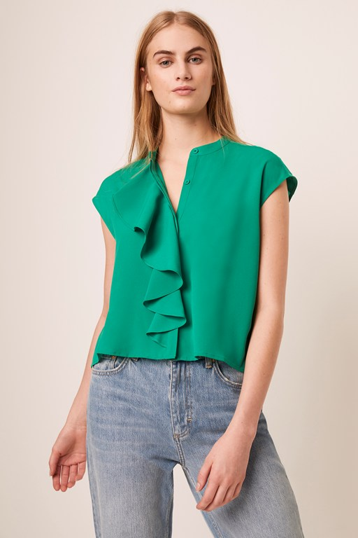 elna light cropped ruffle blouse