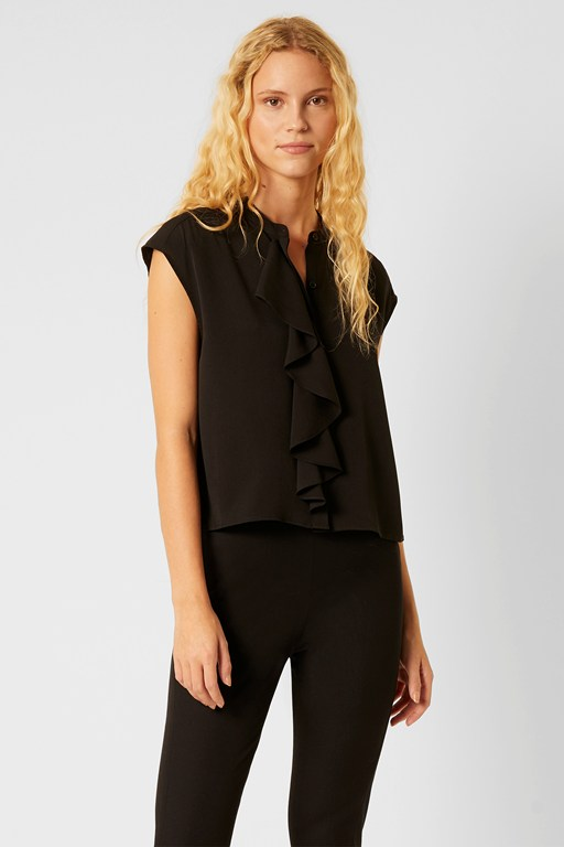 Complete the Look Elna Light Cropped Ruffle Blouse