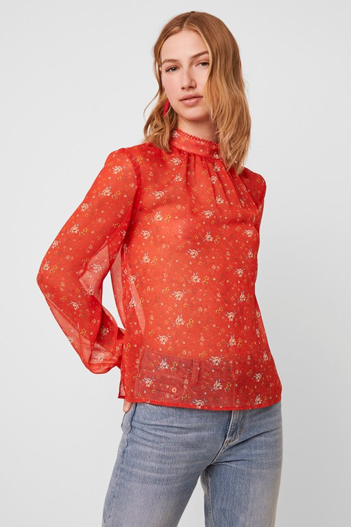 delmira sheer printed blouse