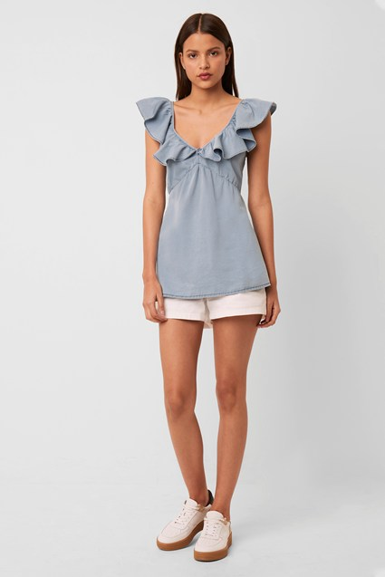 Sisay Chambray Ruffle Sleeve Top