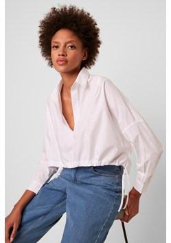 Zain Long Sleeve Cropped Drawstring Hem Shirt