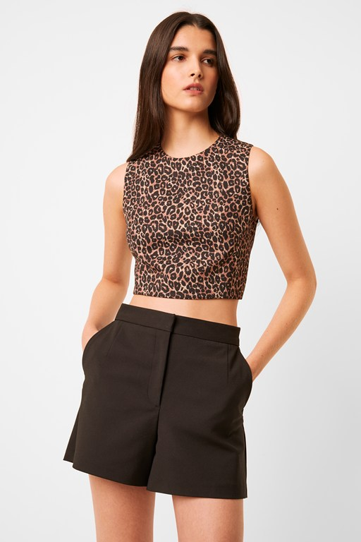leopard whisper sleeveless crop top