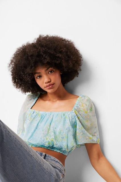 Asja Crinkle Square Neck Crop Top