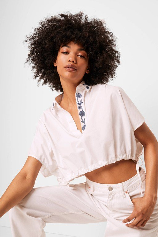 zain poplin embroidered cropped popover shirt