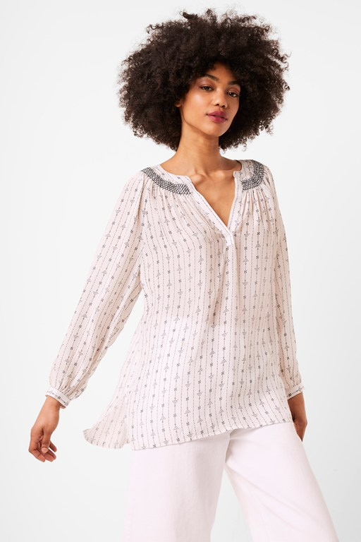 almedi printed smocked popover top
