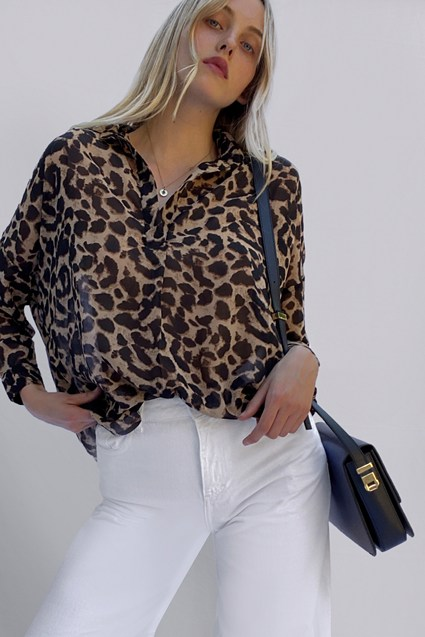 Animal Georgette Pop Over Shirt
