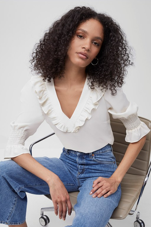 crepe light ruffle neck blouse