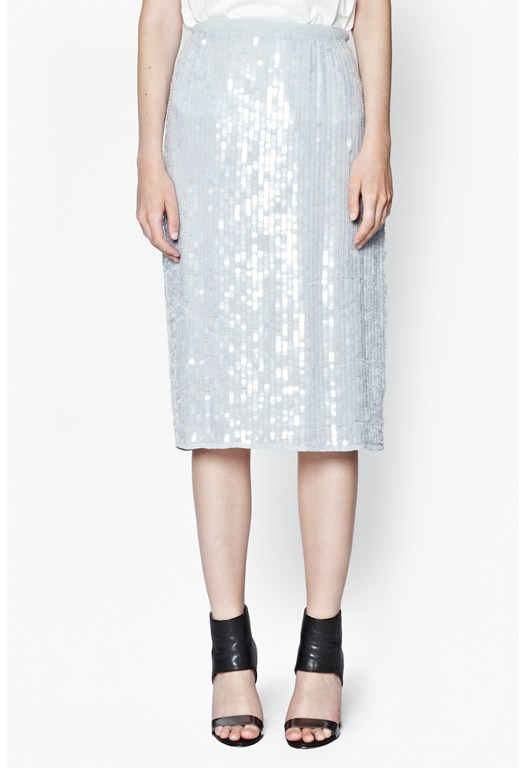 Winter Mist Sequinned Pencil Skirt