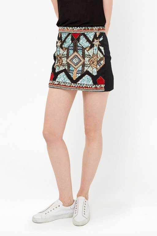 Medina Jewel Embellished Mini Skirt