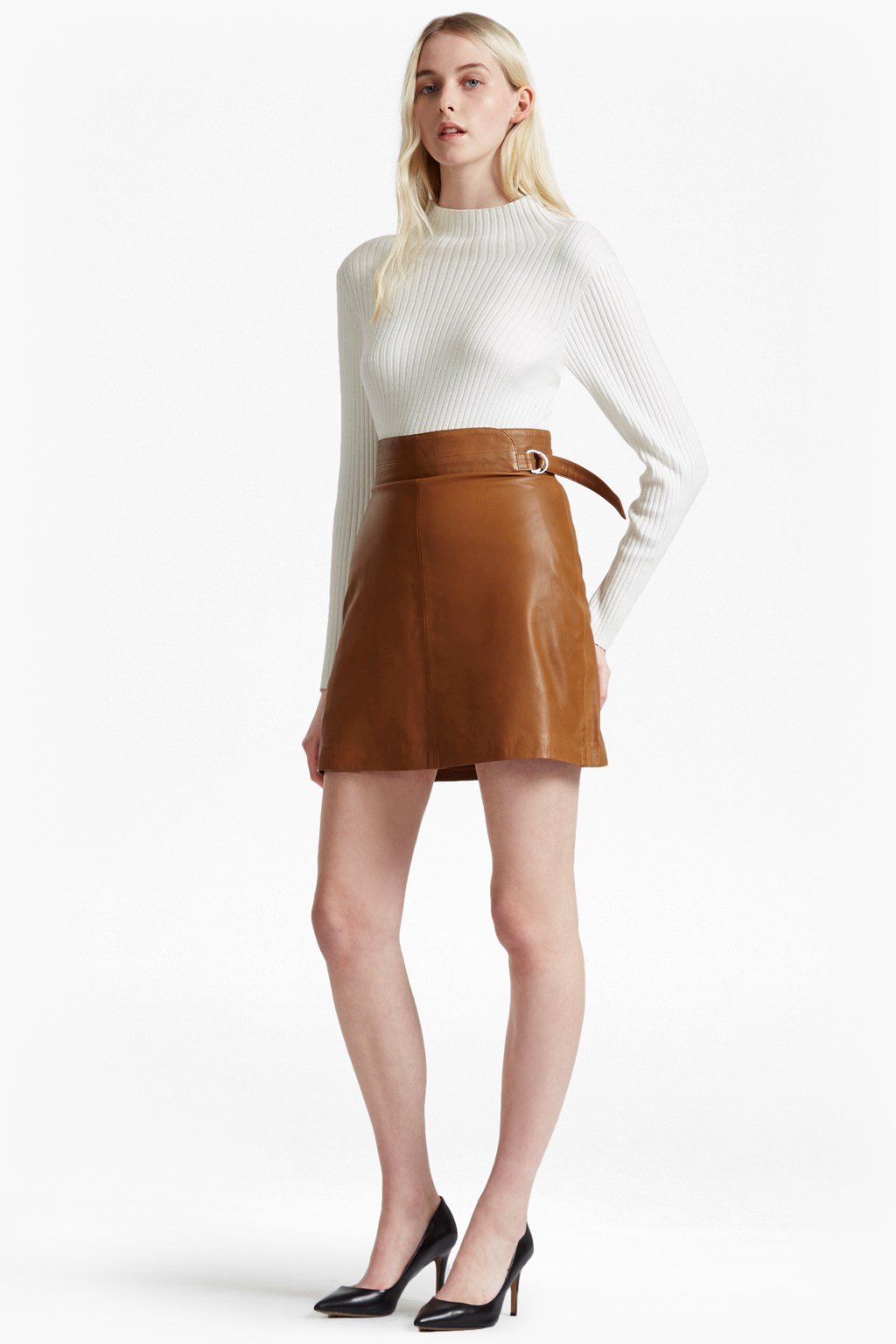 Goldenberg A Line Leather Skirt