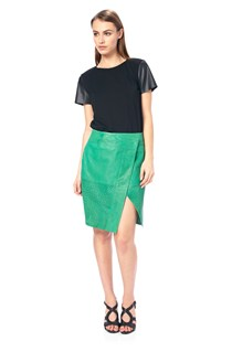 Lucille Leather Wrap Skirt
