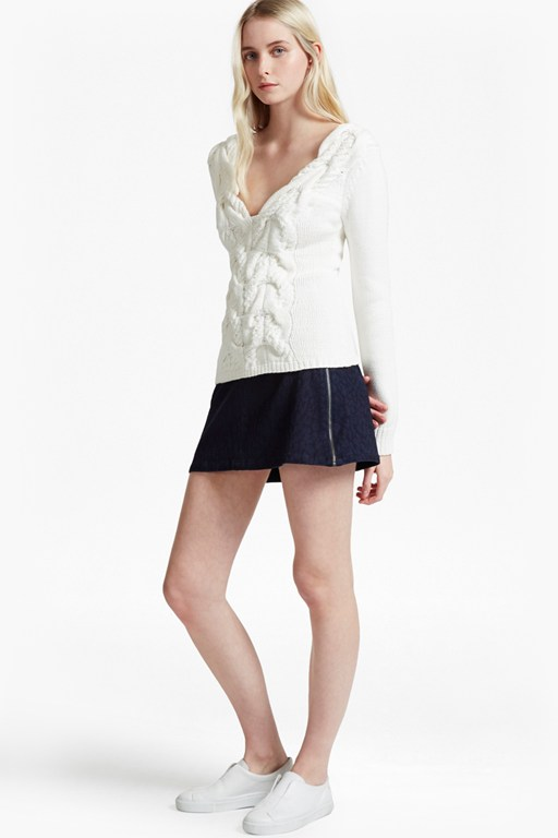 animal jacquard denim mini skirt