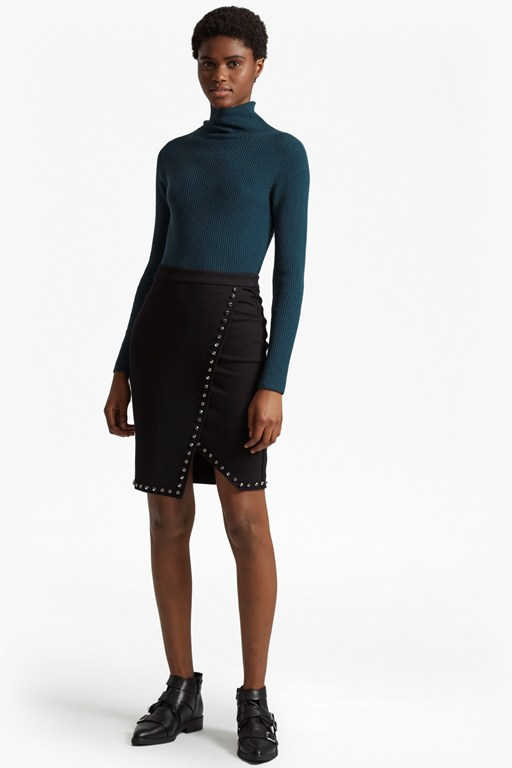lula rhinestone wrapover pencil skirt
