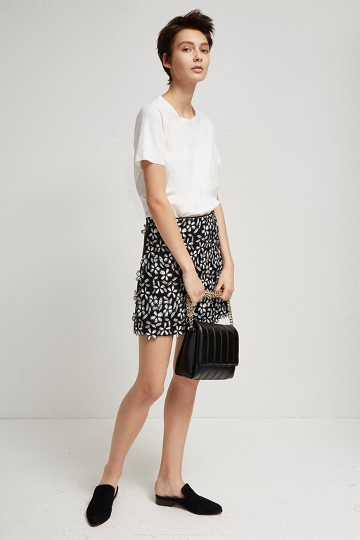 fulaga floral lace mini skirt
