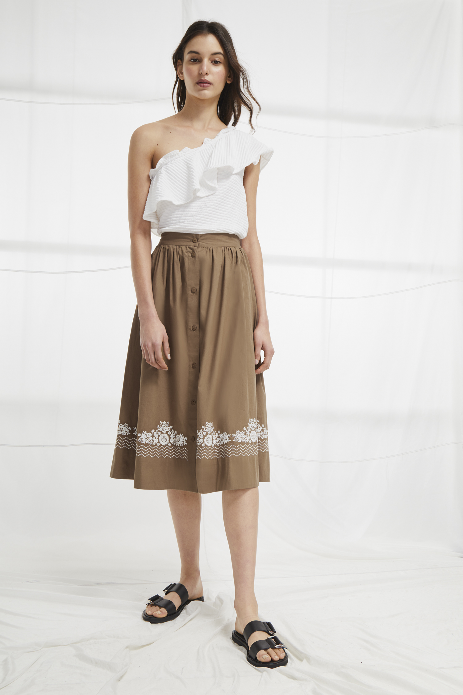 Embroidered Skirt Rhodea Poplin Basque 5jA3RL4