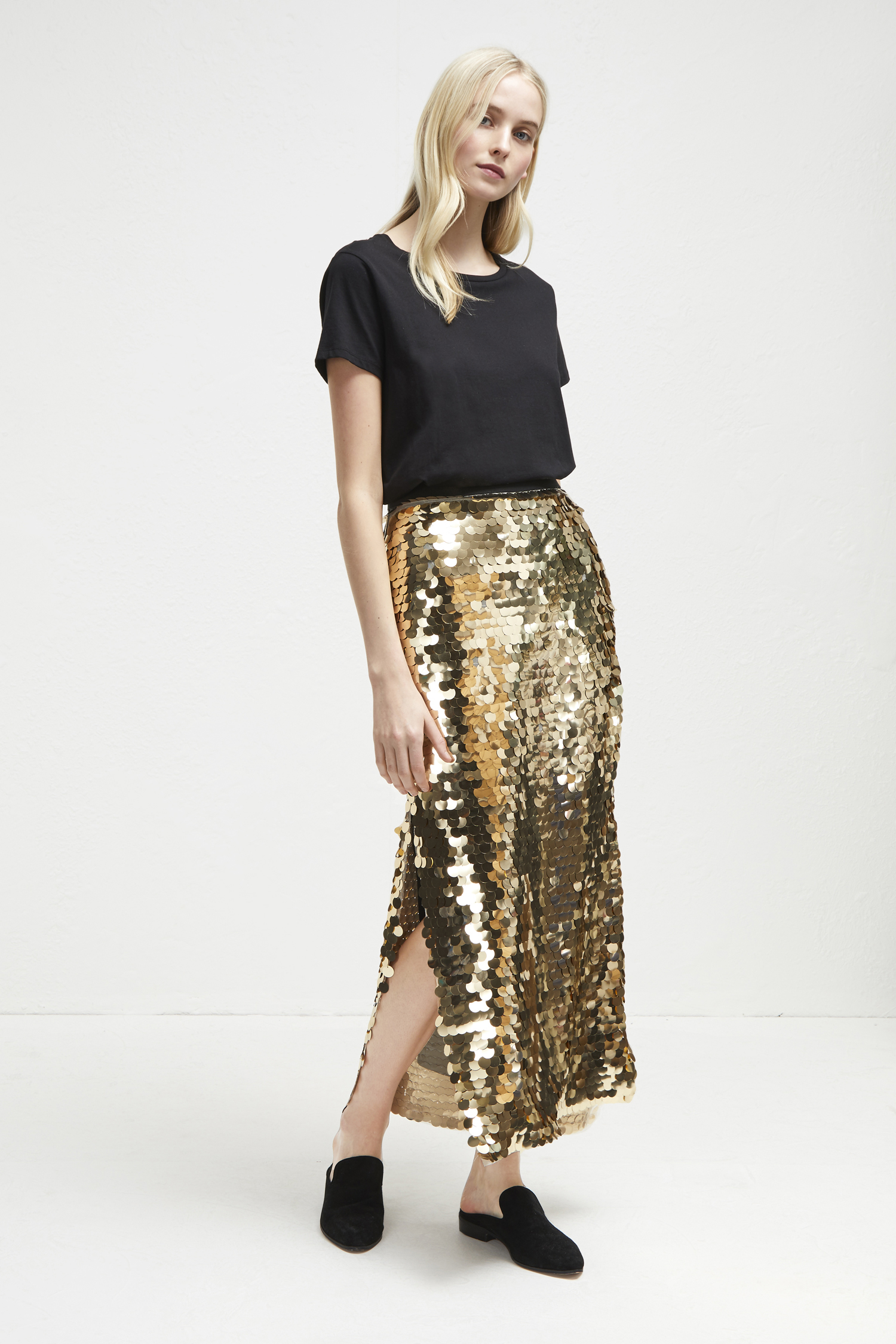 Emilia Sequin Jersey Midi Skirt by French Connection