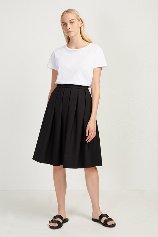 glass stretch pleated midi skirt