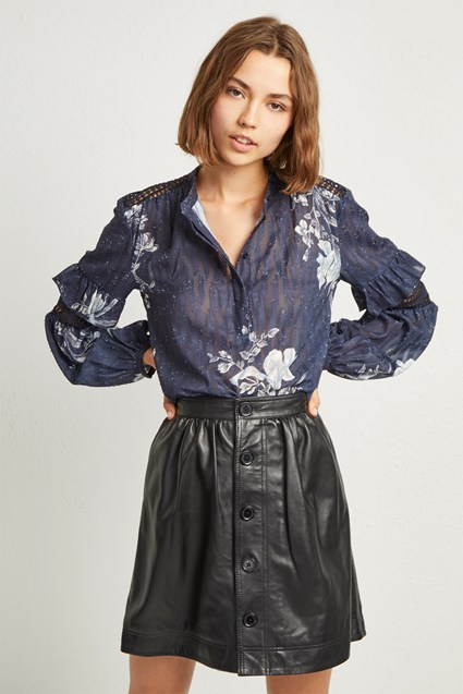 Adela Leather Gathered Waist Skirt