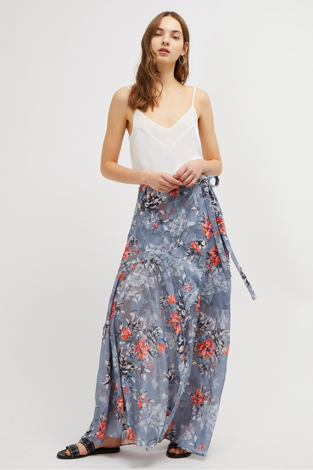 french connection floral wrap skirt