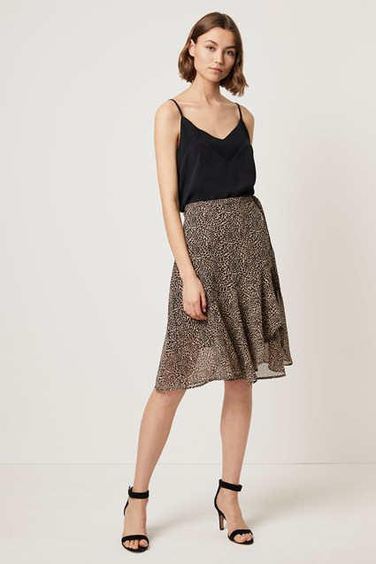 Animal Print Wrap Midi Skirt