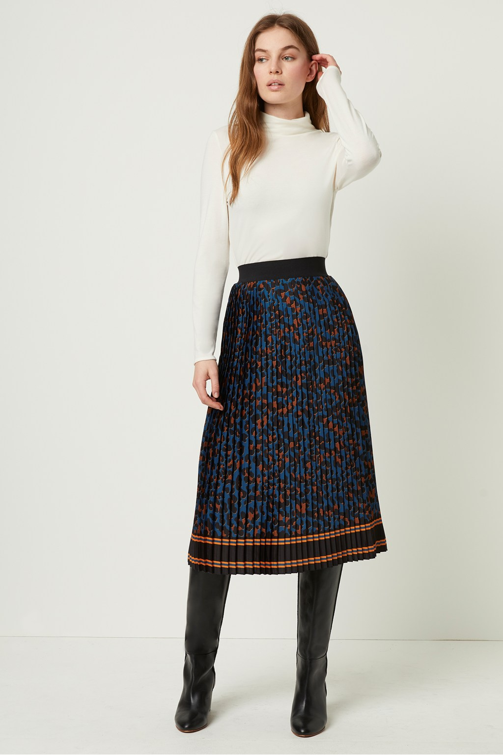 hoard as a rare commodity preview of good texture Pleated Midi Leopard Print Skirt