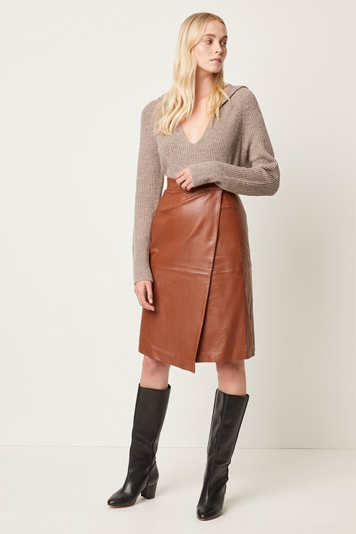 Complete the Look Abri Leather Wrap Skirt