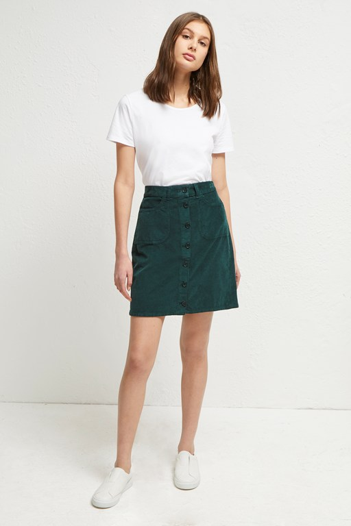 manzu cord button skirt