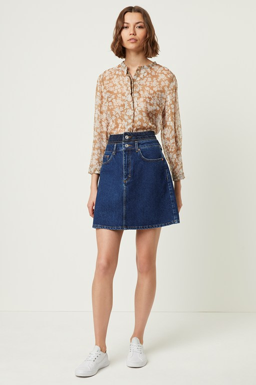 leona denim two tone mini skirt