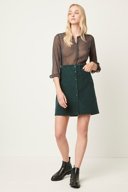 Manzu Cord Button Mini Skirt