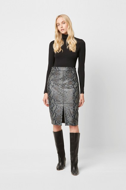 Elias Leather Snake Print Pencil Skirt